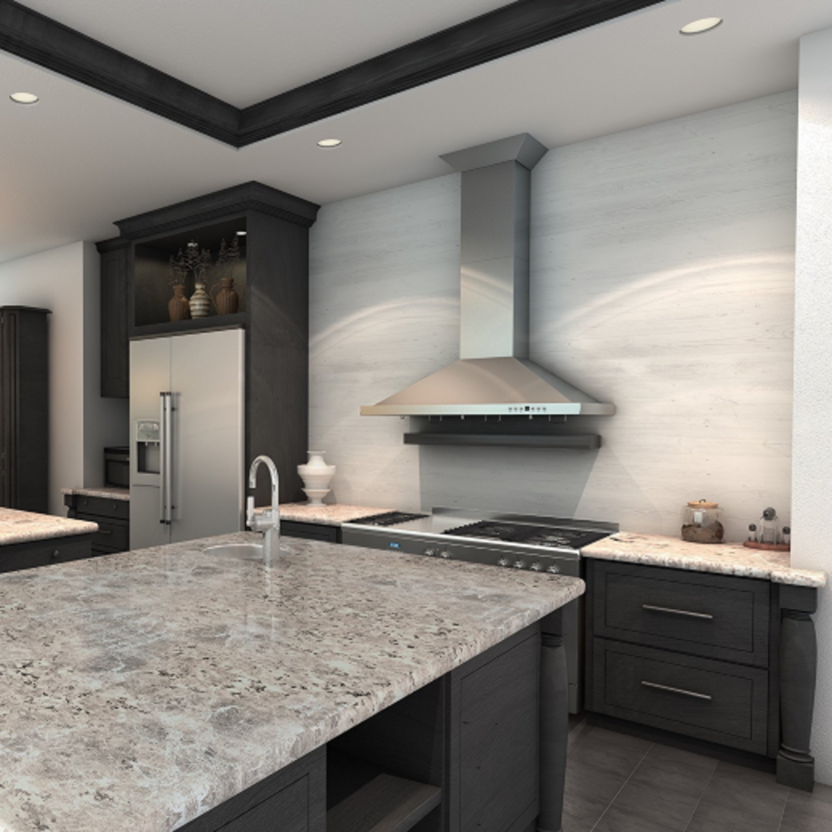 The range hood is the focal point of this kitchen.