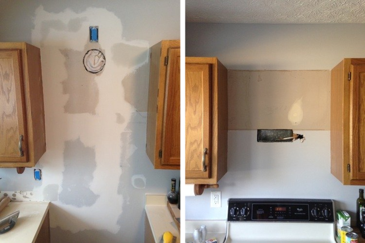 Before installation. Here, an under cabinet range hood was replaced by the Akdy AZ63175S