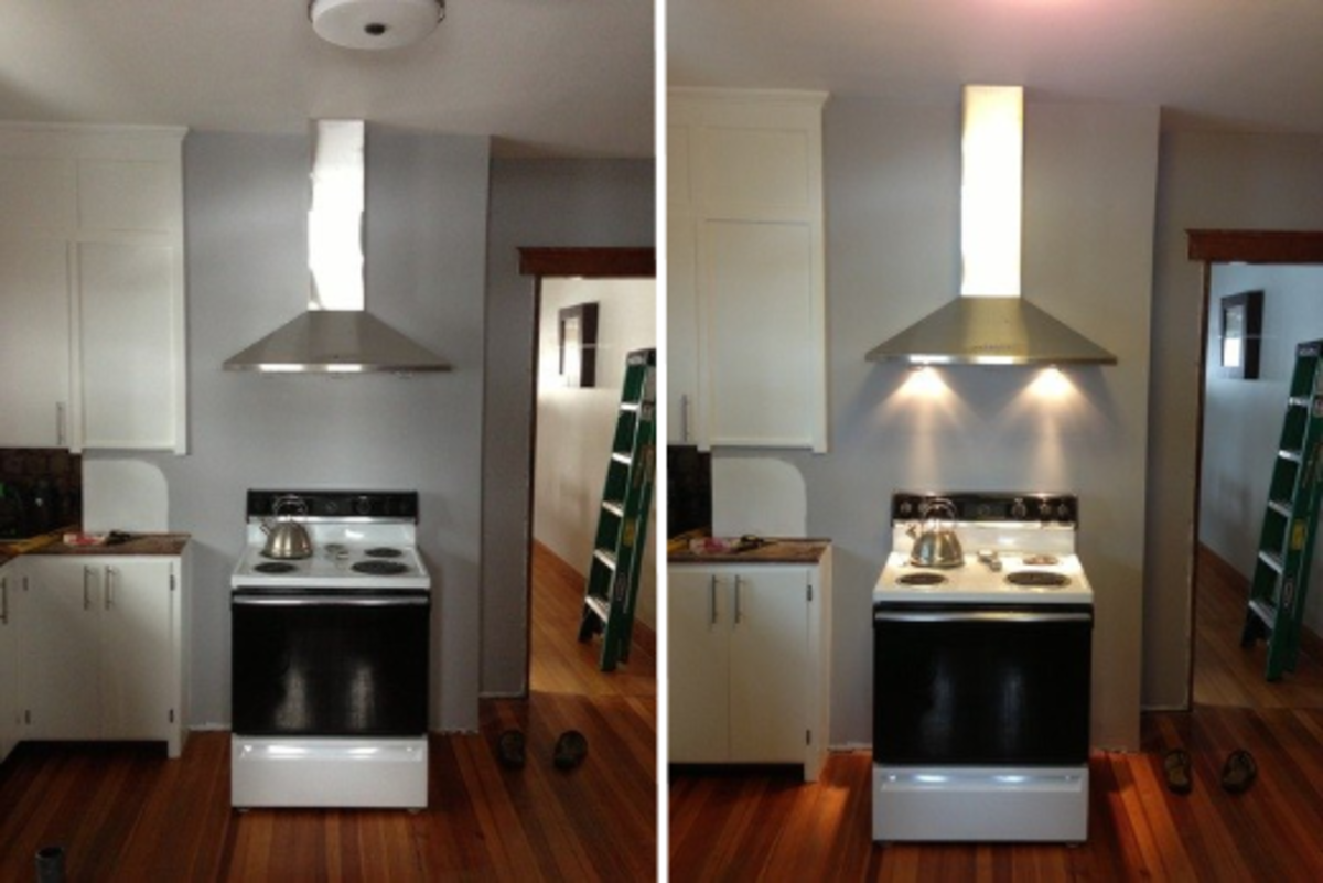 The original halogen lights are sufficiently bright to light up the cooktop.