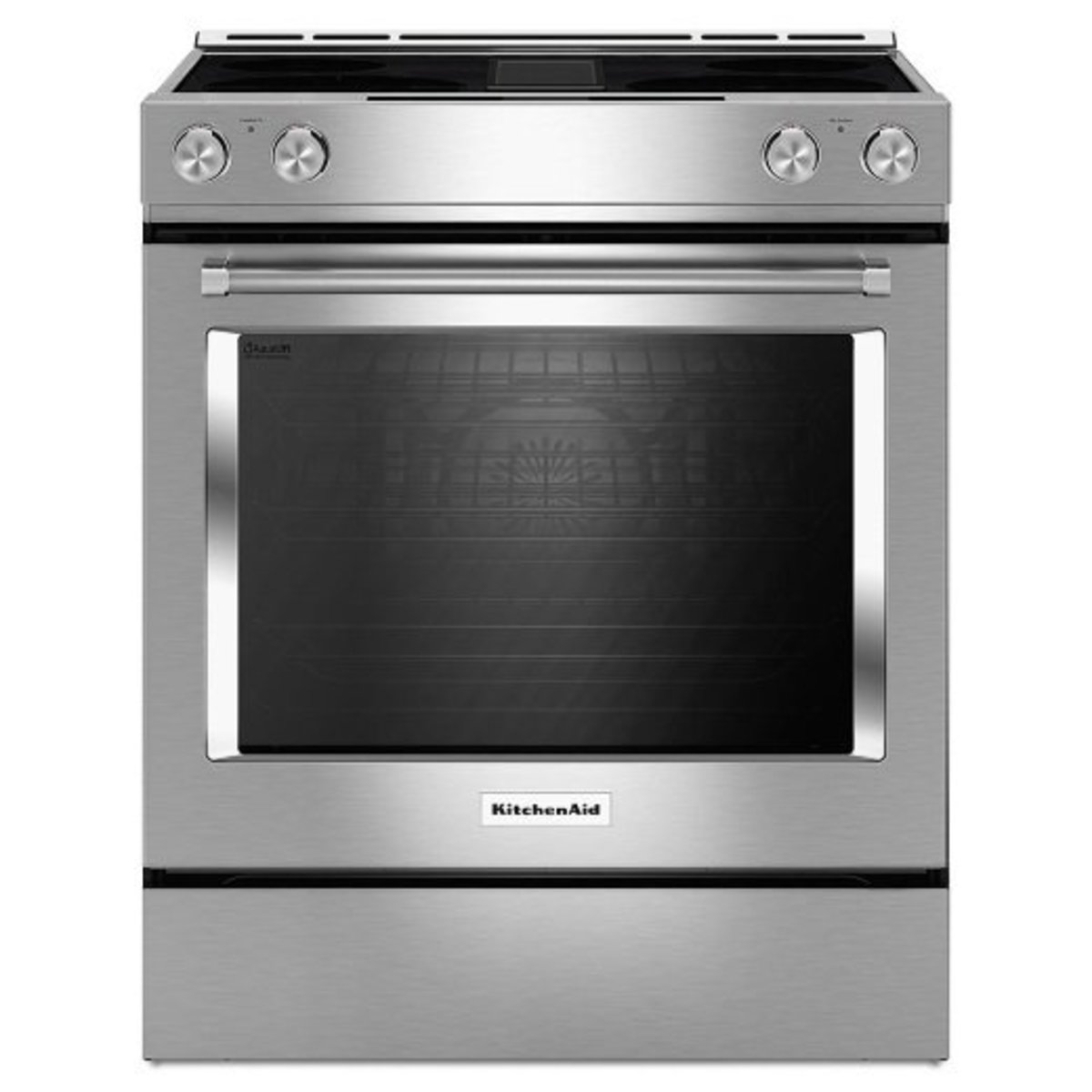 The KitchenAid KSEG950ESS slide in electric range with downdraft is aesthetically weaker than the Jenn Air in my opinion.