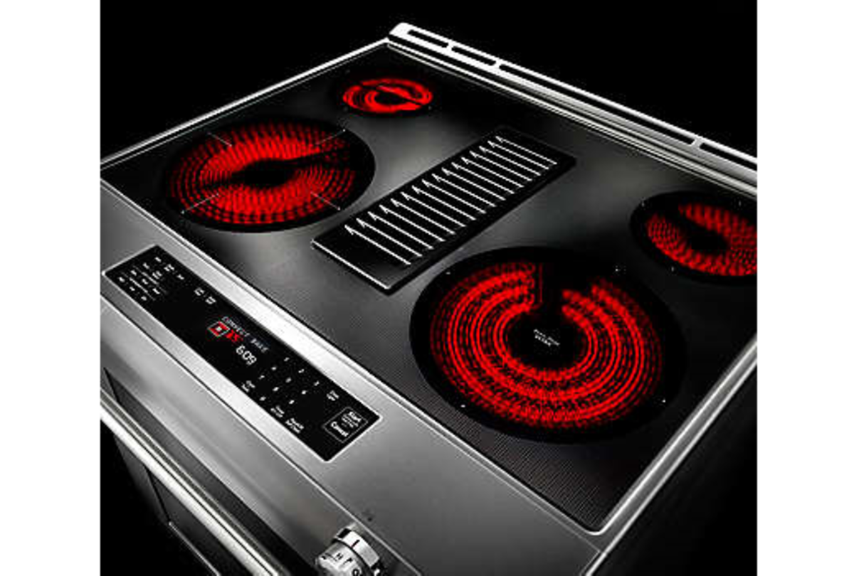 The cook top with all the 4 elements switched on.