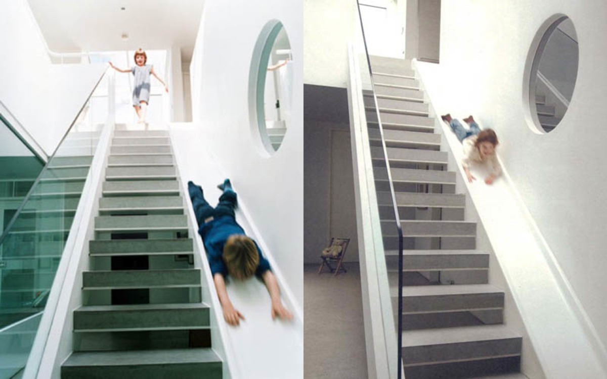 Slides inside a home are fun for both children and adults.