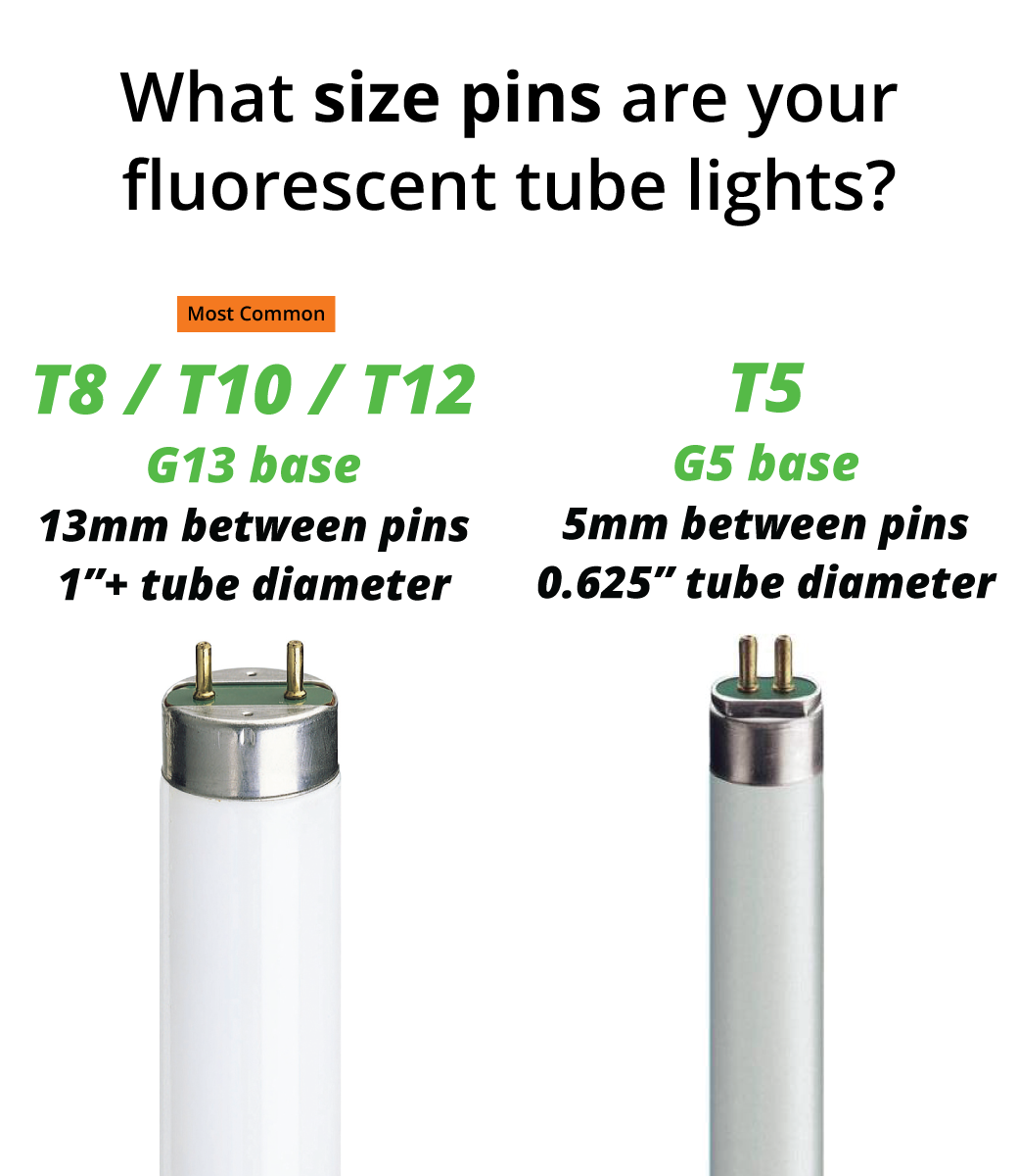 To determine your LED tube light pin size, measure the diameter of the fluorescent tube, or remove the tube from the fixture and measure the distance between the pins.