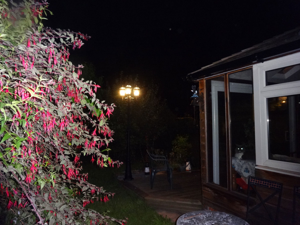 Street lamp from reclamation yard later fitted to corner of the conservatory's decking.