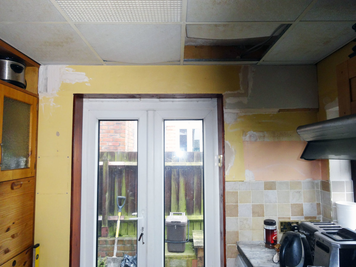 Suspended ceiling panels to be replaced.