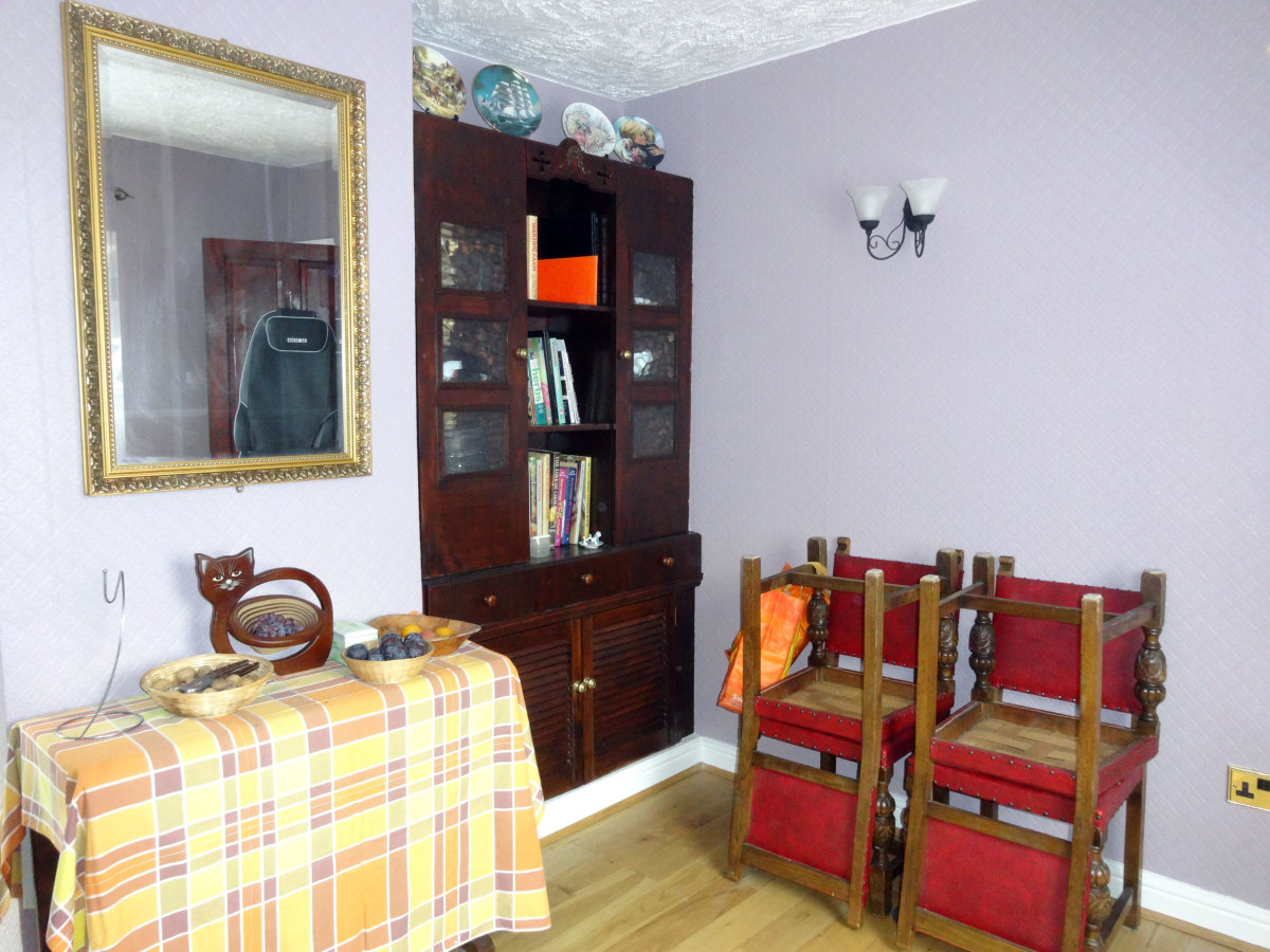 Room decorated; view of built-in welsh dresser.