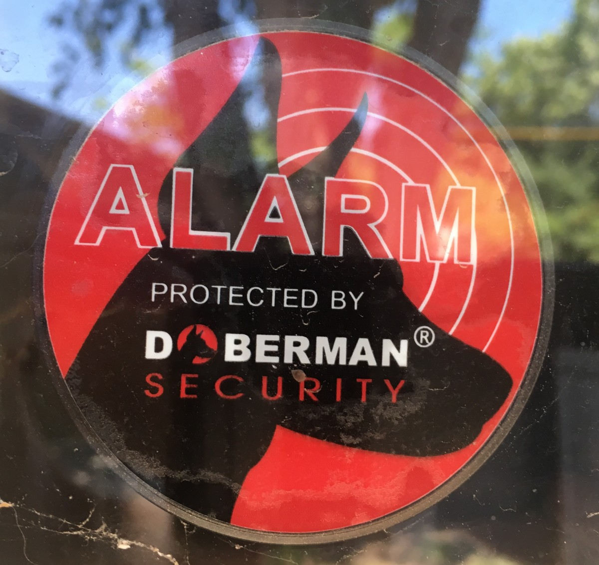 The back of the window alarm very clearly shows it's an alarm to anyone who may be looking at it.