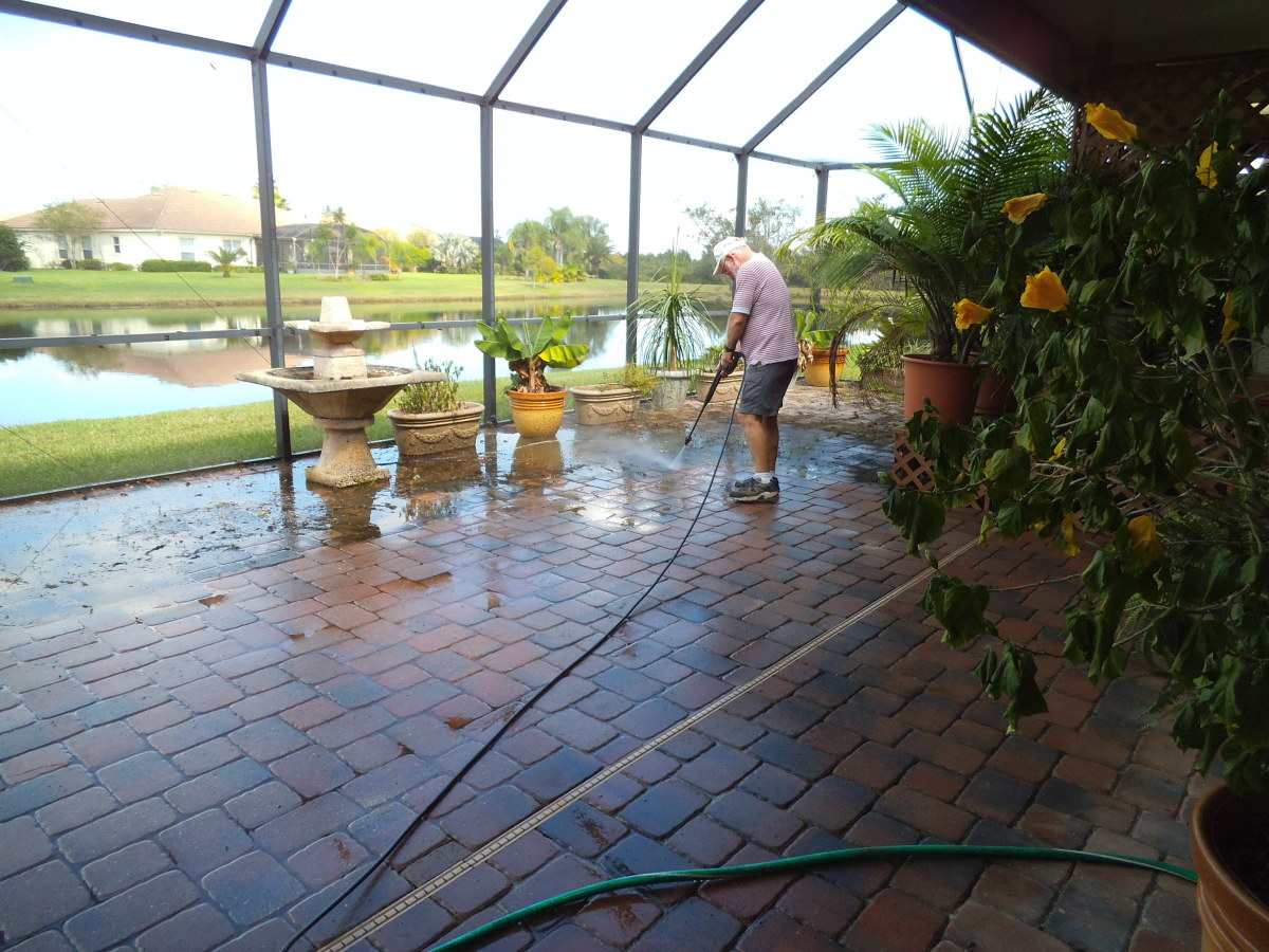 The frequent rains of summer caused mold to grow on the pavers. Pressure washing worked to get it off but was a nuisance on a large patio like ours.