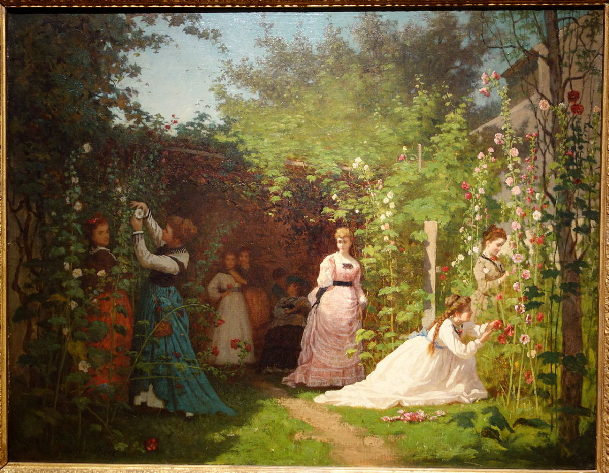 Hollyhocks by Eastman Johnson 1876