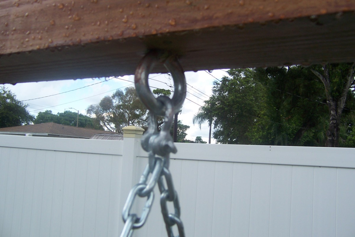 This also shows how the chain is attached to the ring bolt with the clevis.