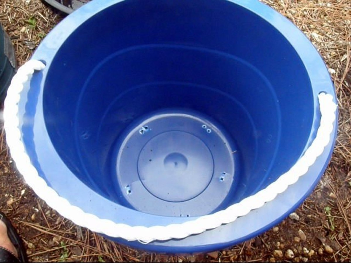 Plastic pots are a good choice as they do not absorb moisture as clay pots do, and drainage holes are easier to make in plastic.