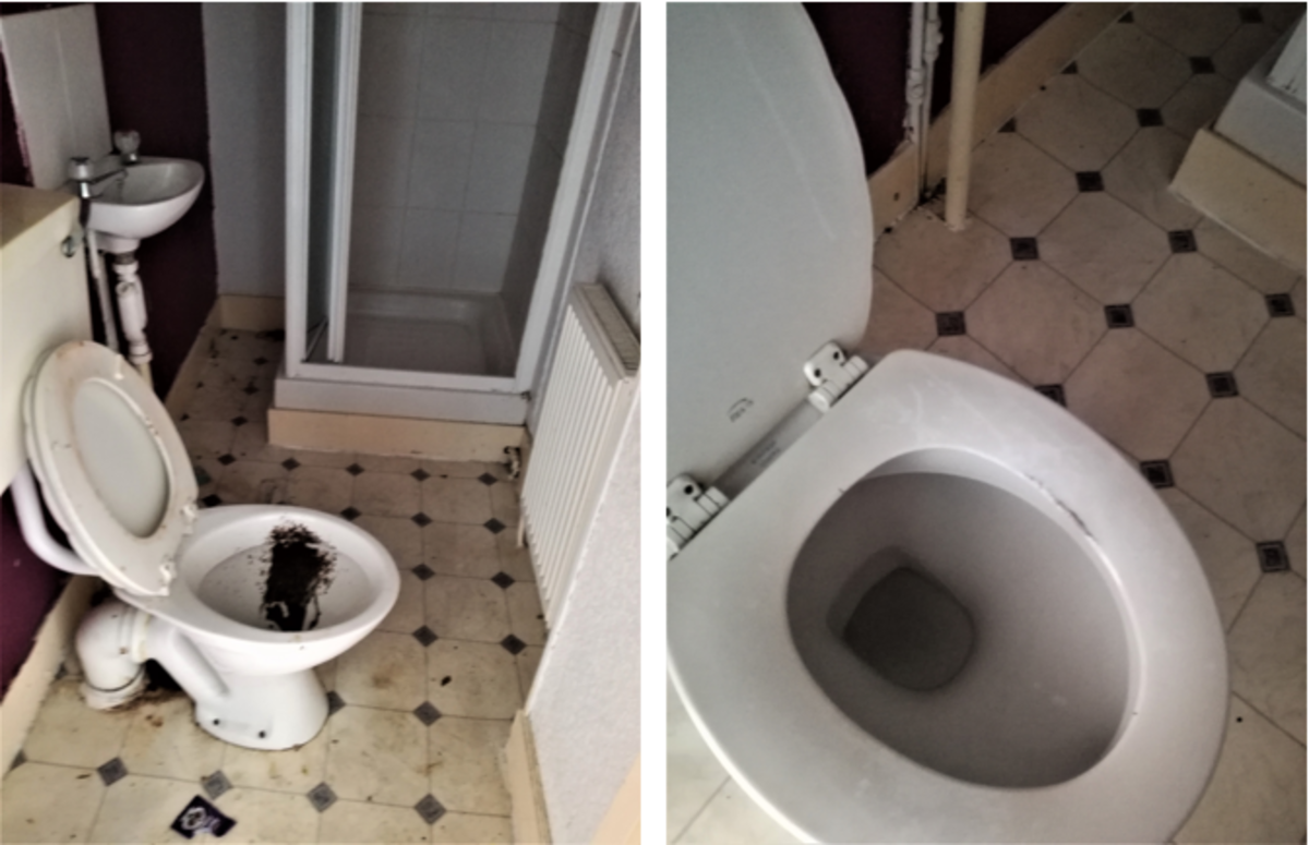 This toilet took a lot of bleach and scraping to bring it back to a usable condition.