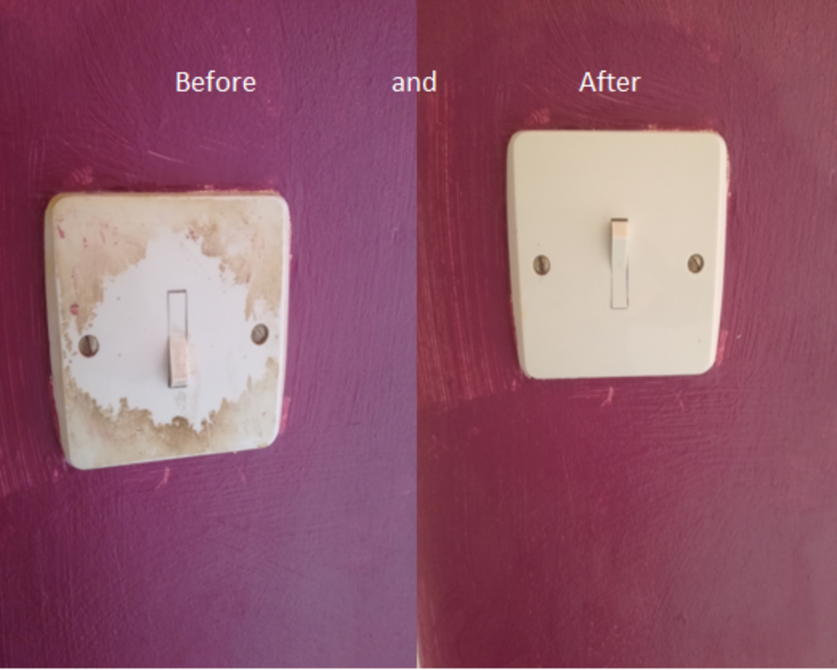Light switches are often overlooked when cleaning. Over time, the oils and sweat from fingers can leave stains behind.
