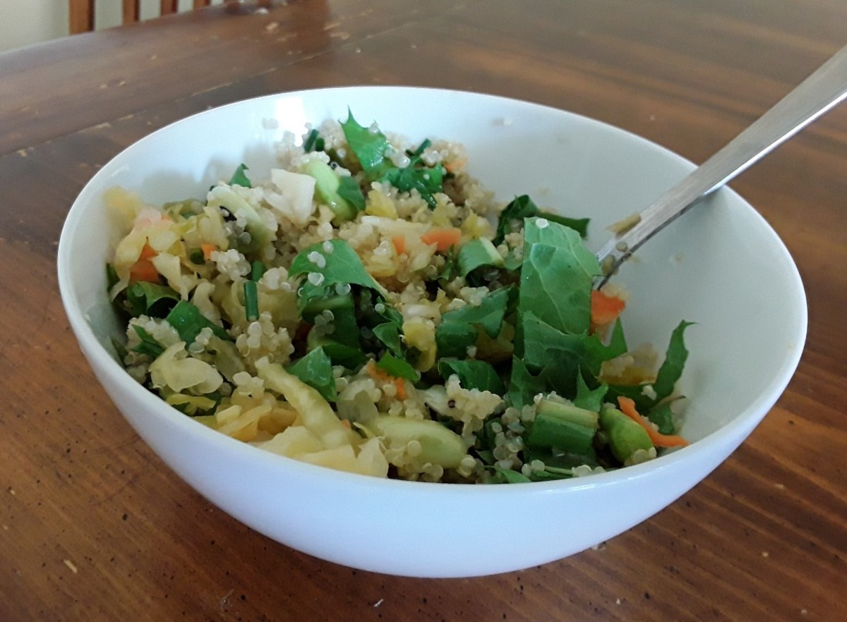 This quinoa-dandelion salad is a great way to use dandelions.  An apple-cider vinegarette makes a great foil for the bitter dandelion flavor.