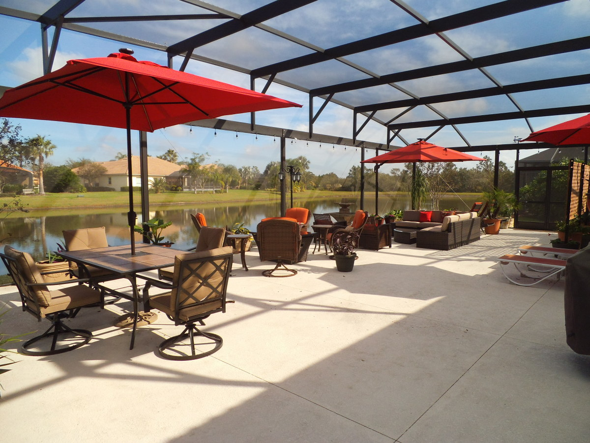 We've furnished the space and now use it daily. We eat our meals out there, relax by the fire, or lounge by the water.