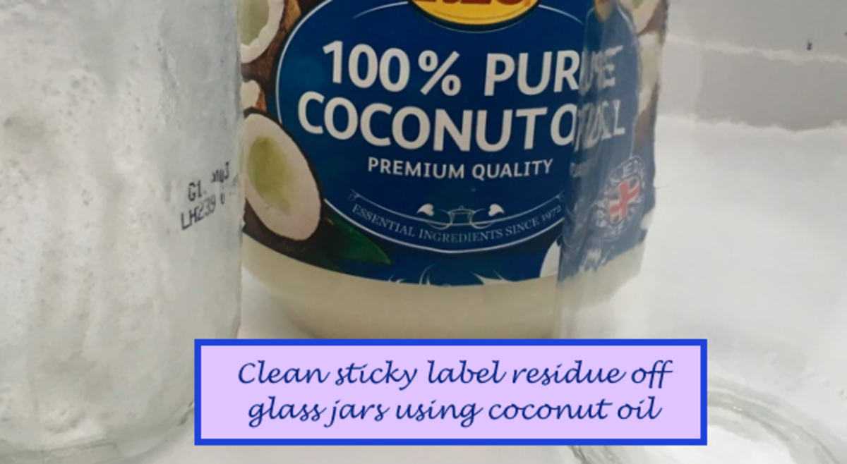 Remove Sticky Label Residue From Glass Jars With Coconut Oil