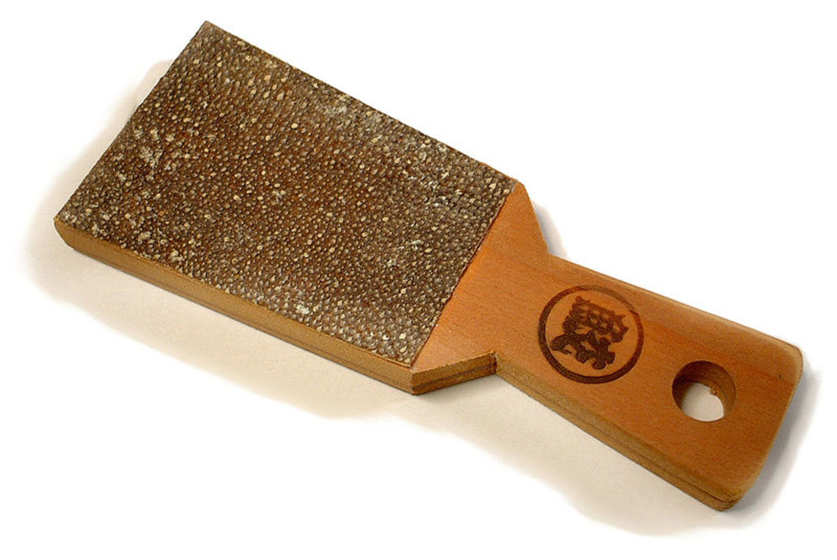 Wasabi grater with shark skin