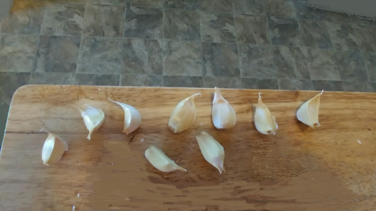 Separate each clove of garlic, leaving a layer of skin on them. The largest cloves will grow the biggest.