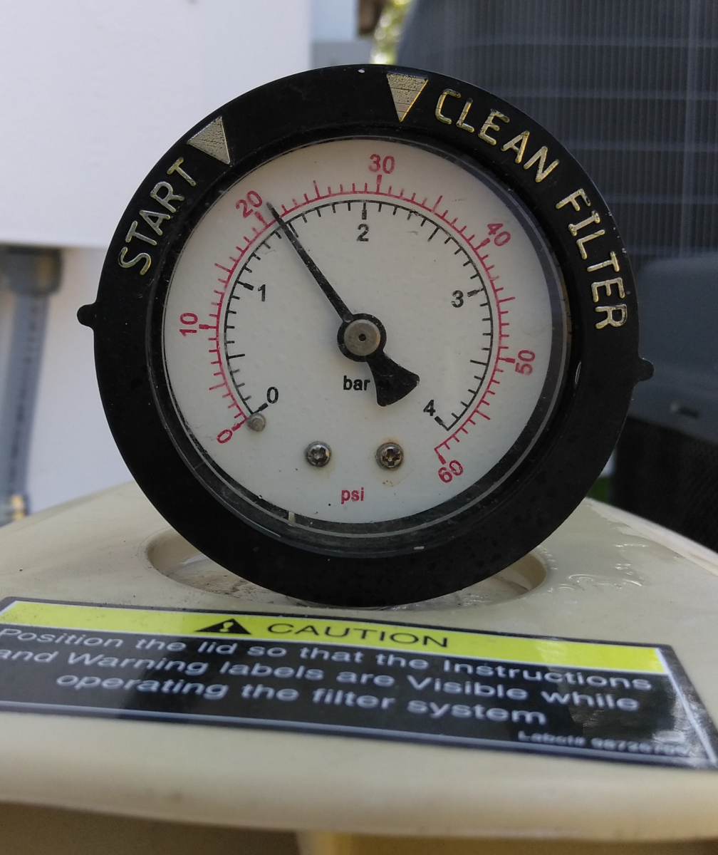 "Take note of what the pressure (PSI) is after pump is running and fresh DE powder has been added. This is the ""clean"" filter pressure. Backwash when PSI exceeds more than 5 PSI over clean filter pressure."