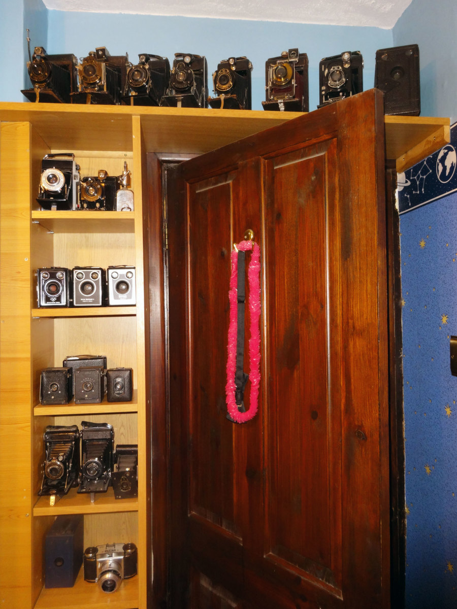 Part of my son's camera collection back on display after I'd redecorated his room.