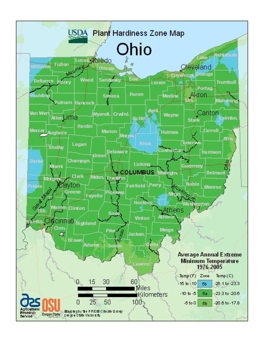 Ohio plant hardiness zones