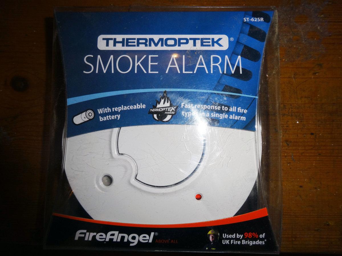 The new FireAngel smoke alarm still in its packaging