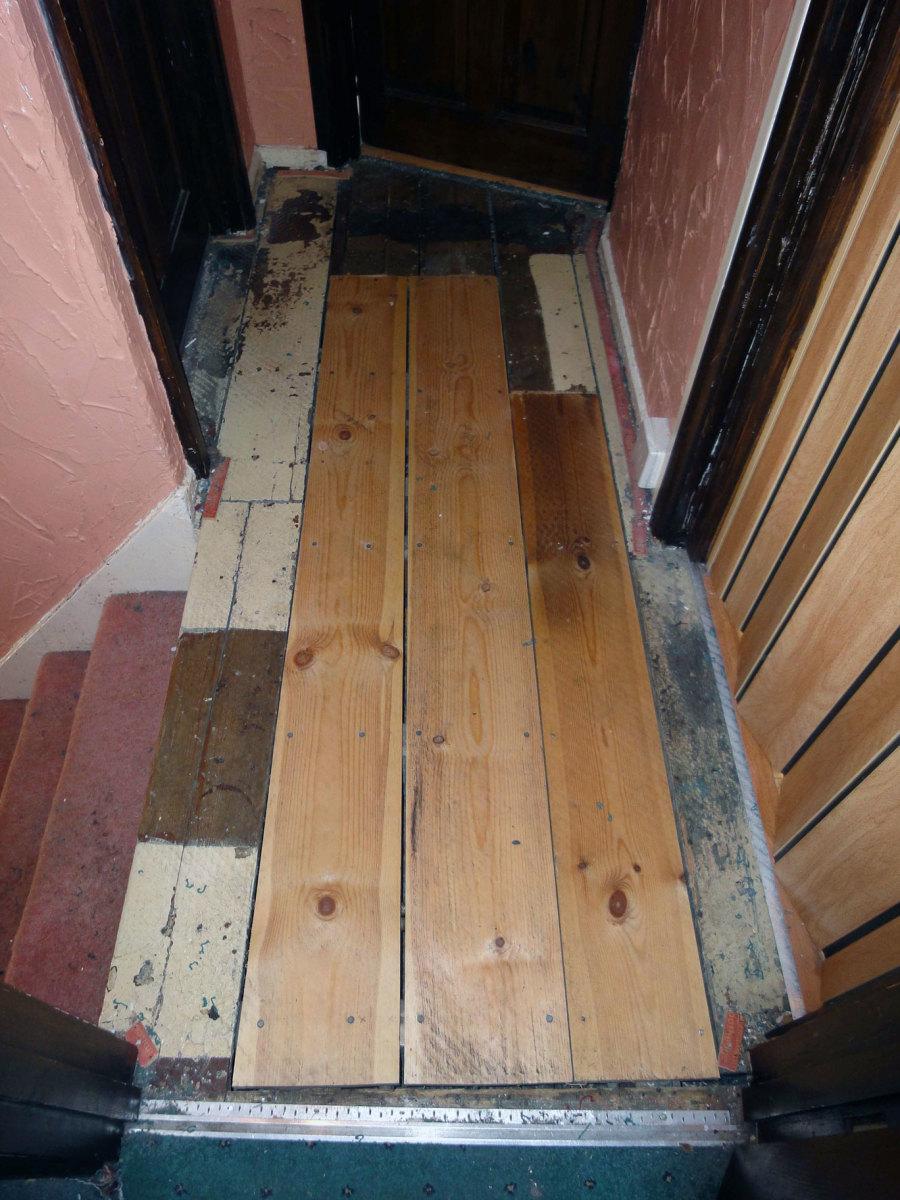 The Original pine flooring on the upstairs landing