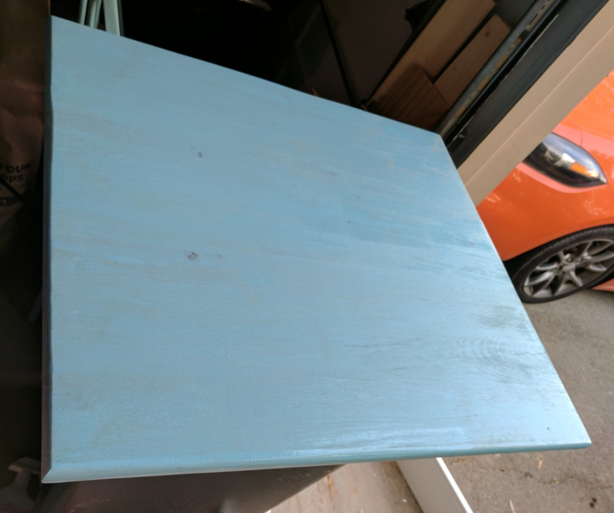 I applied two coats of stain using a foam brush, leaving plenty of time to dry in between each coat. I lightly sanded in between the first and the second coat to avoid bumps in the final layer. After this, I put on a layer of polyurethane sealant.