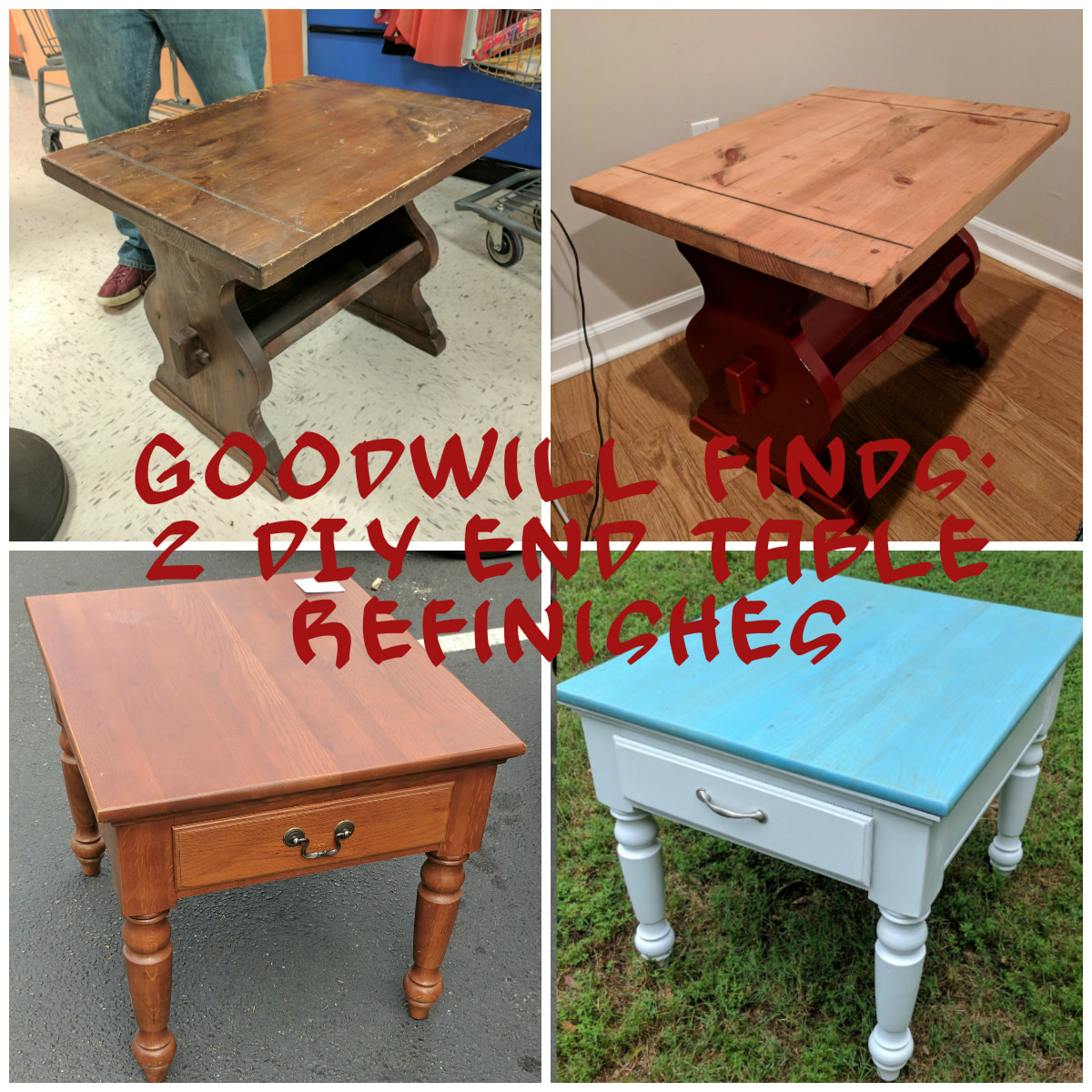 In this article we'll discuss two awesome end table refinishes that I did last summer!