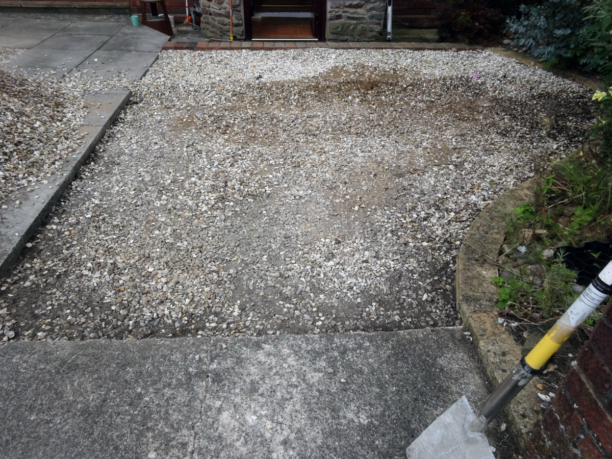 Using the concrete paving slab drive as a guide as the concrete slabs are the same thickness as the plastic grids.