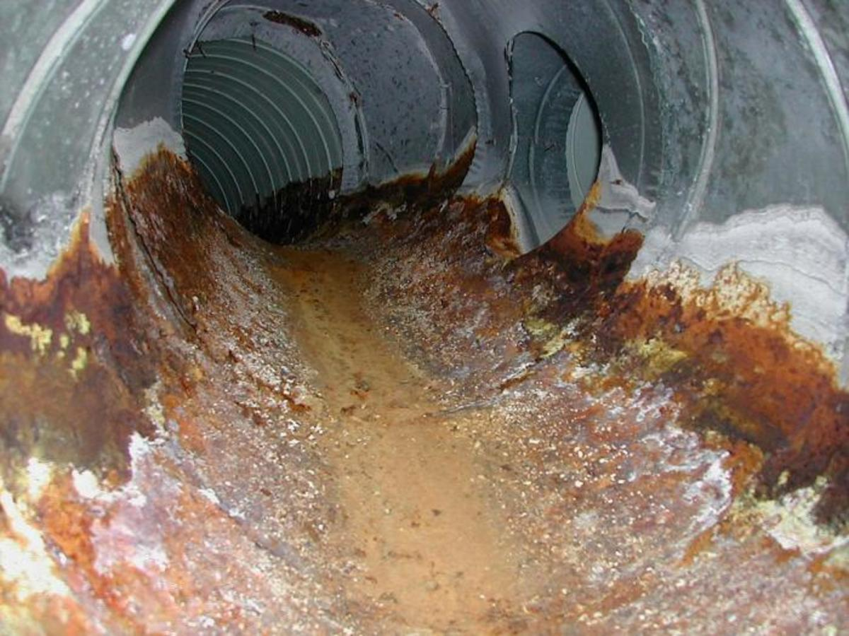 Whether metal or plastic, it's not uncommon for older underground ducting to take on water. New codes have helped minimize this risk but with settling and age, it's hard to guarantee.