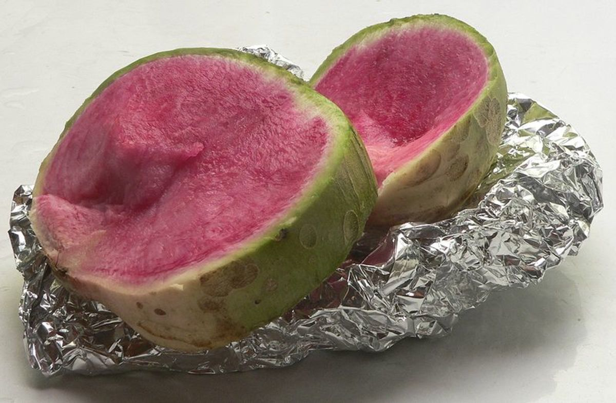 Chinese Daikon Watermelon Radish.  It is green on the outside and pink on the inside like a watermelon.