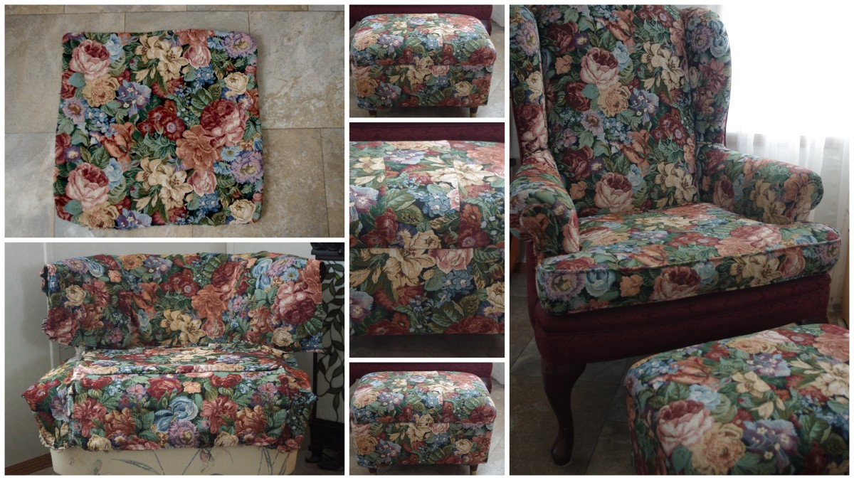 Top left: Reclaimed upholstery fabric, Bottom Left: Rough fit on old chair, Center: Recovered footstool, Right: Wing Chair with newly matching footstool