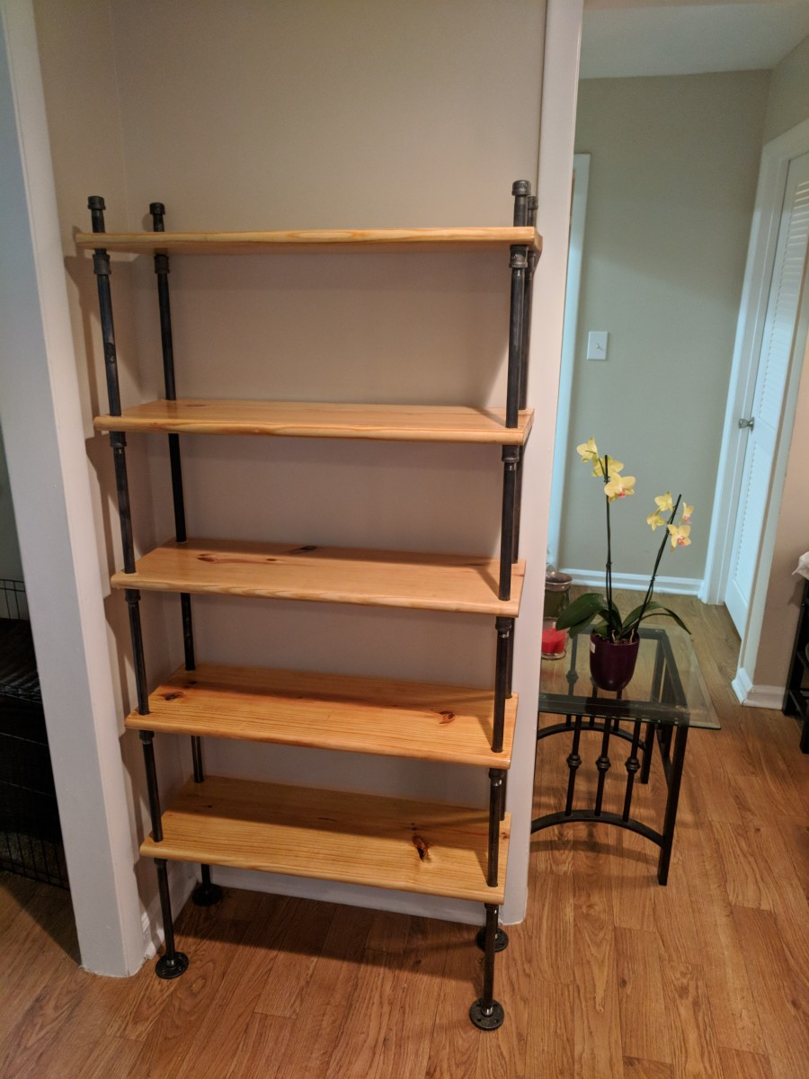 Here's the empty, finished bookshelf....