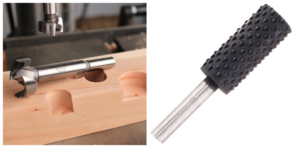On the left, you'll see the Forstner bit, which cuts the holes. on the right is a rotary rasp file, which you can use to sand the inside of the hole to the right width.