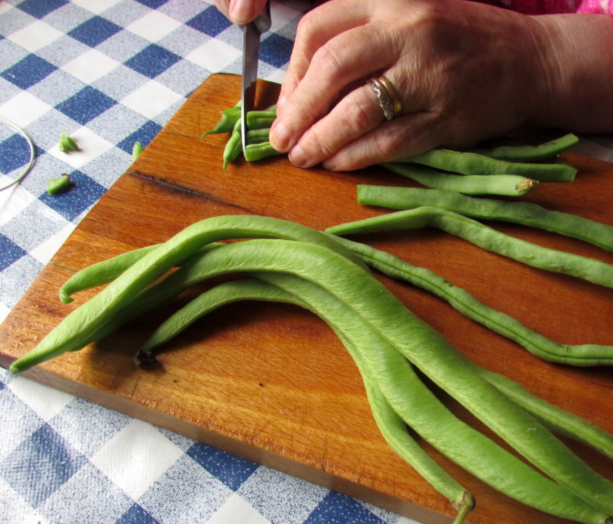 Preparing runner beans for freezing.
