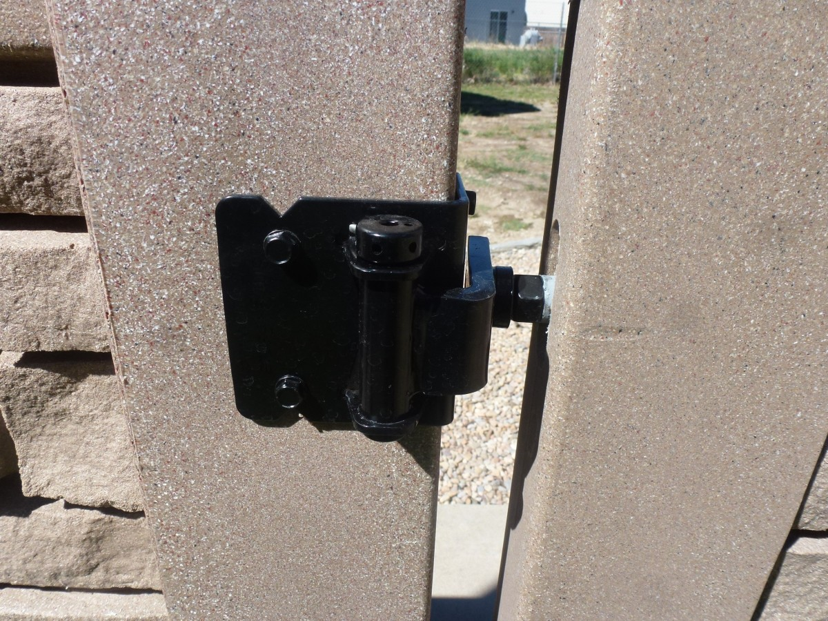Hinge assembly, attached to gate and gate post.