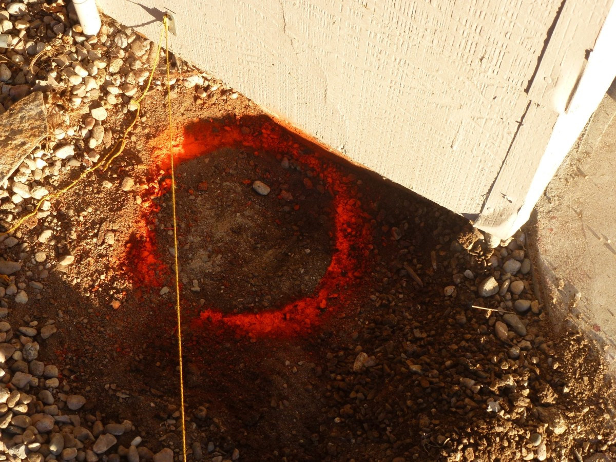 The paint ring left when the template is removed.  The hole will be the unpainted center area.