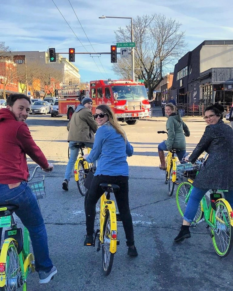 That's my niece in the center looking back. She's very active and uses all kinds of transportation. Note the elastic around her pant legs. It helps keep her pants out of the bicycle wheel spokes.