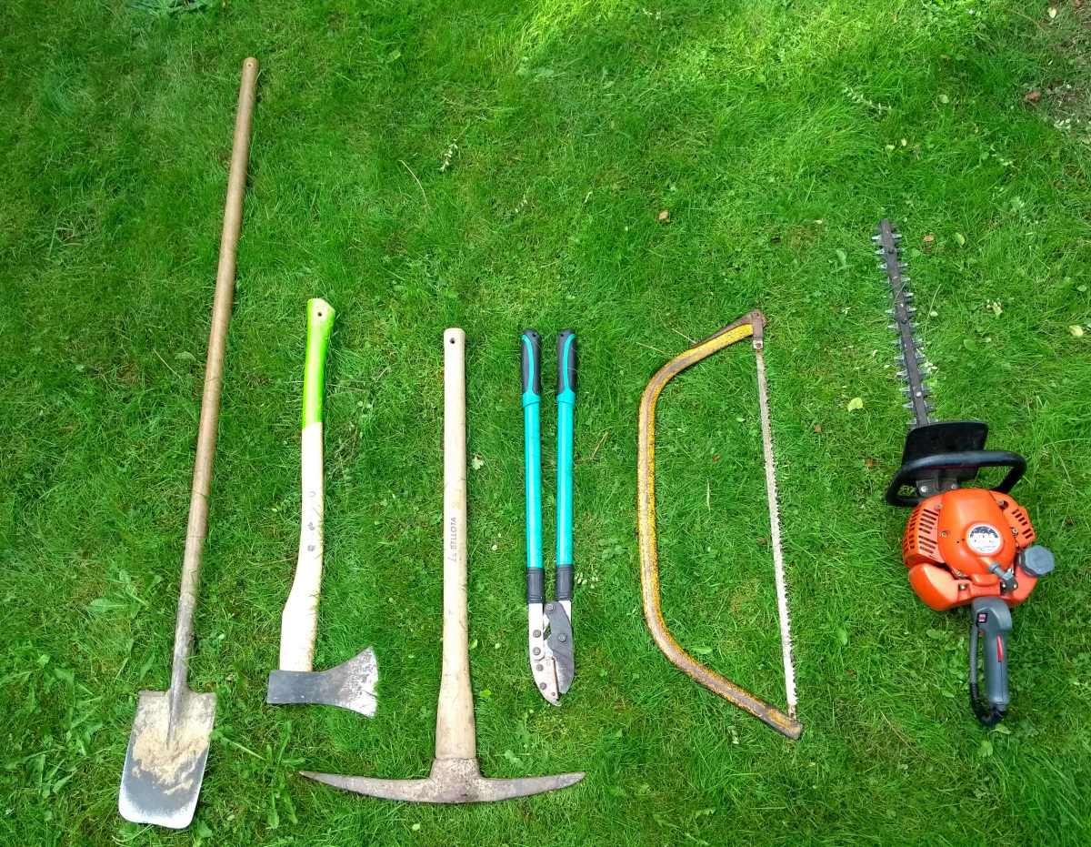 From left to right, spade, axe, pick-axe with flat end, loppers, bow saw and petrol (gas) hedge cutter (trimmer)