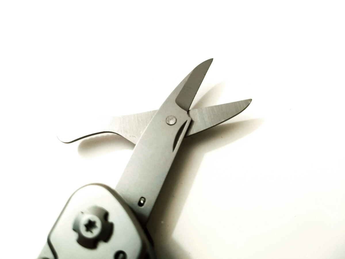 Close-up of the scissors.