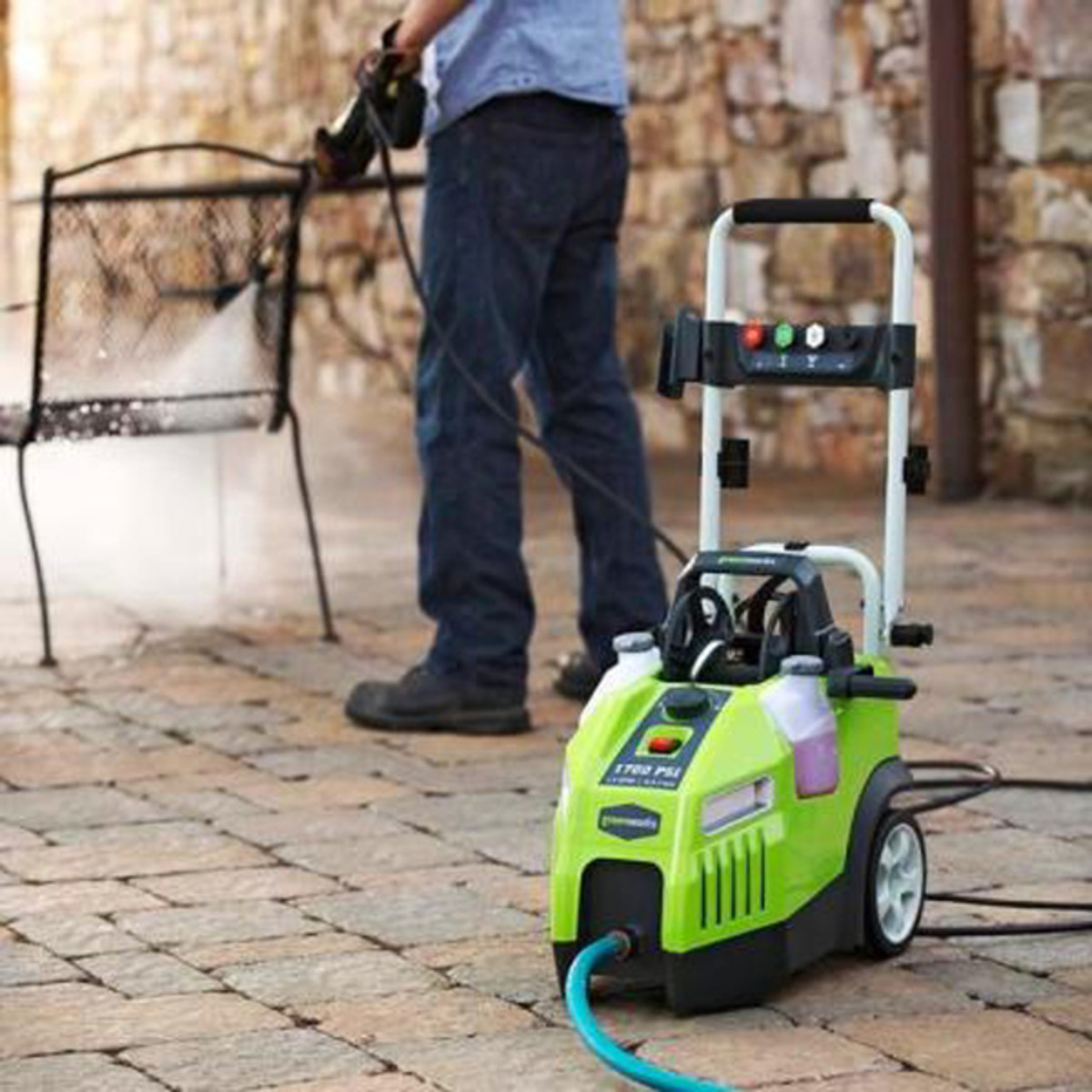 Power washing outdoor furniture and surfaces is a great way to remove dirt and grime from the previous winter.