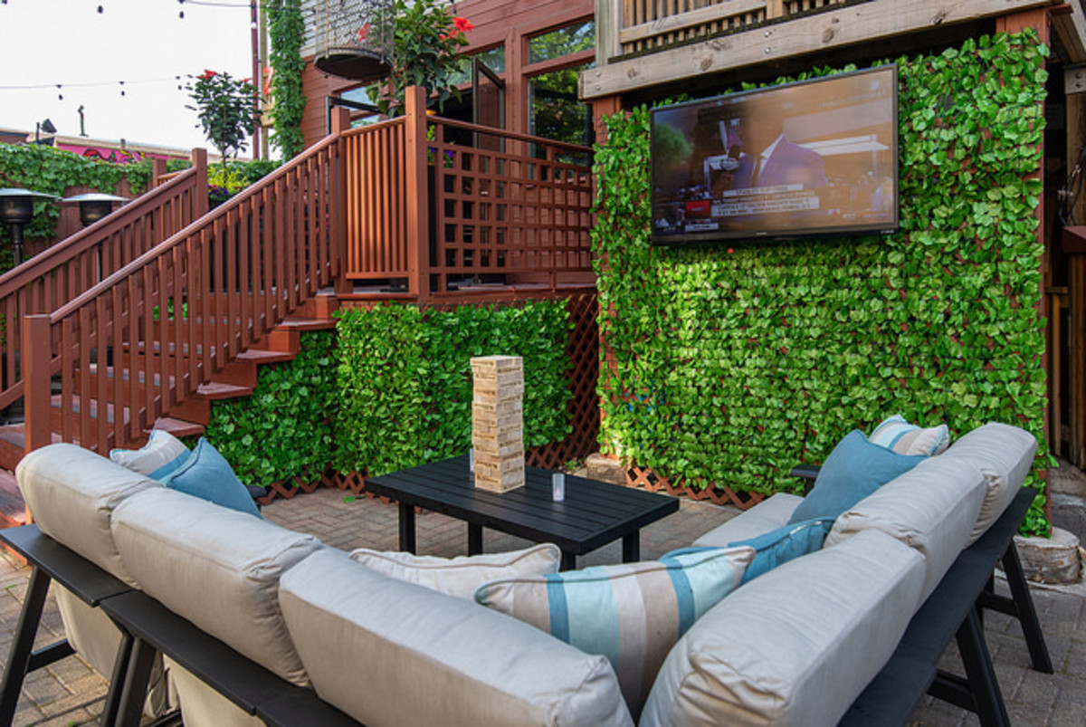 A sectional on the patio offers the perfect space for conversation, entertaining and TV viewing.