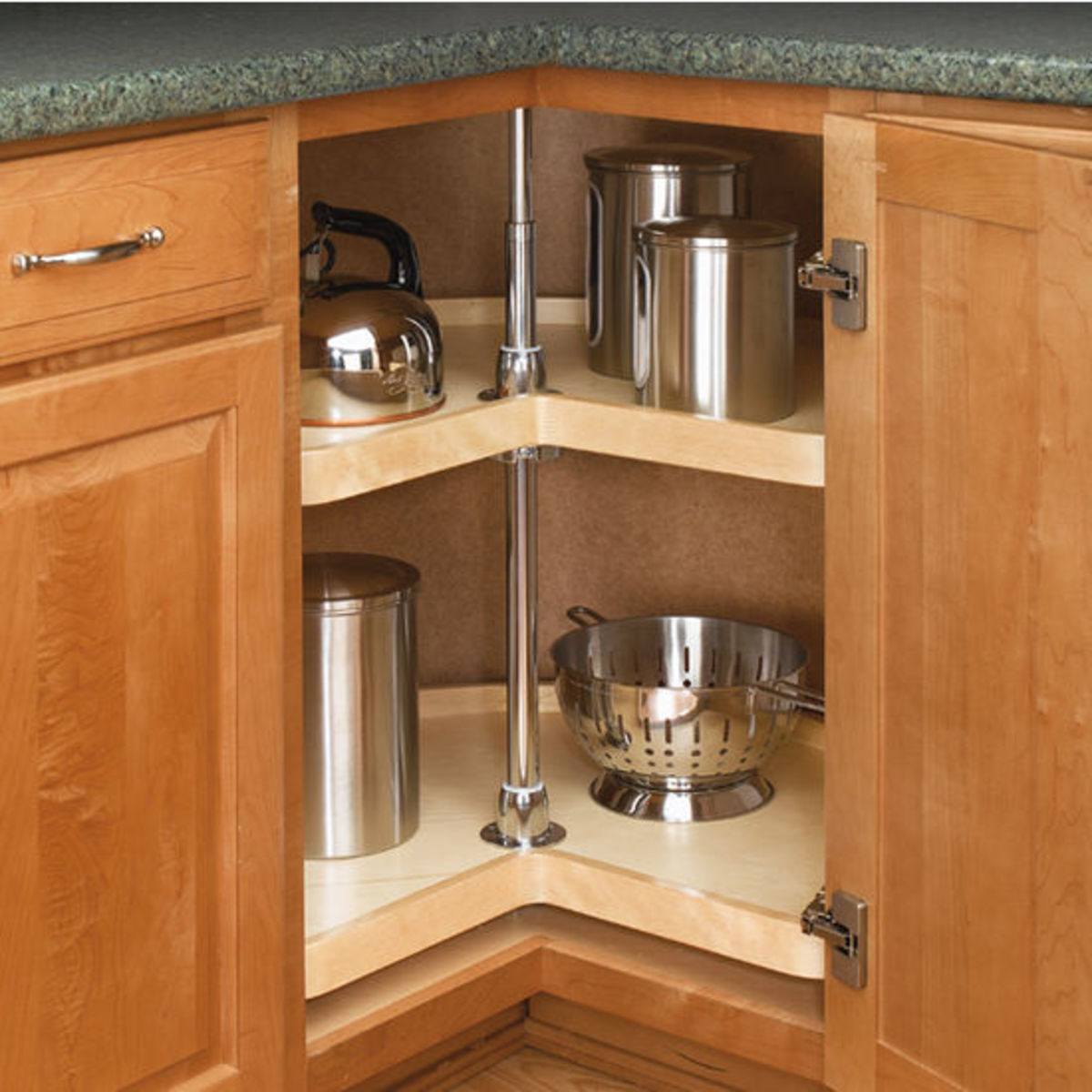 A corner cabinet turntable allows for easy access.