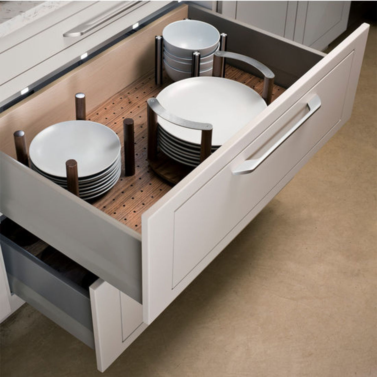 This drawer system makes it super easy to access dishes set the table.