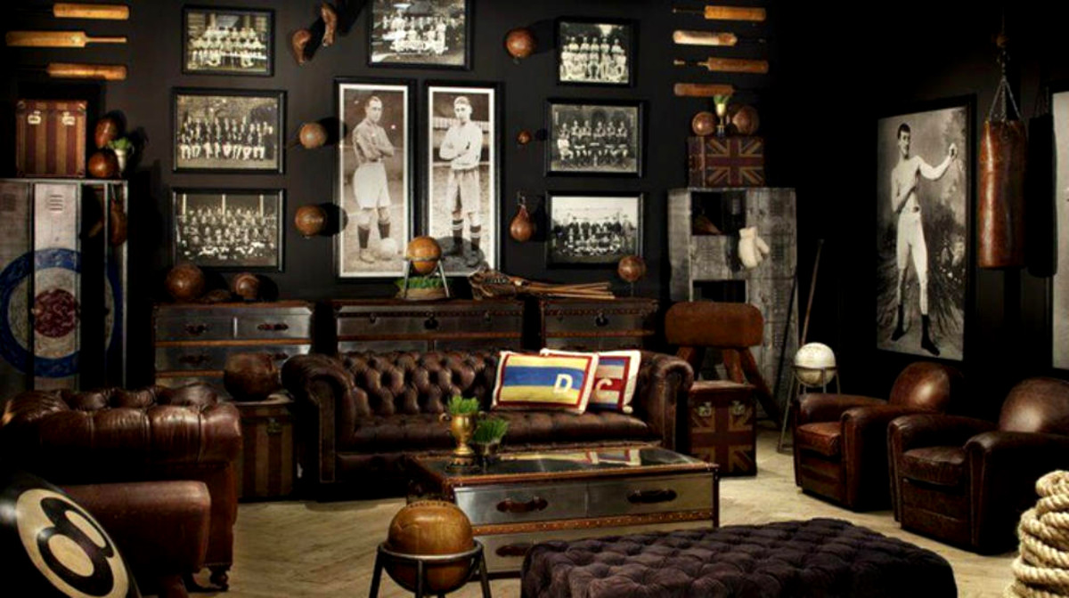 This masculine room is full of personality and vintage sports memorabilia.