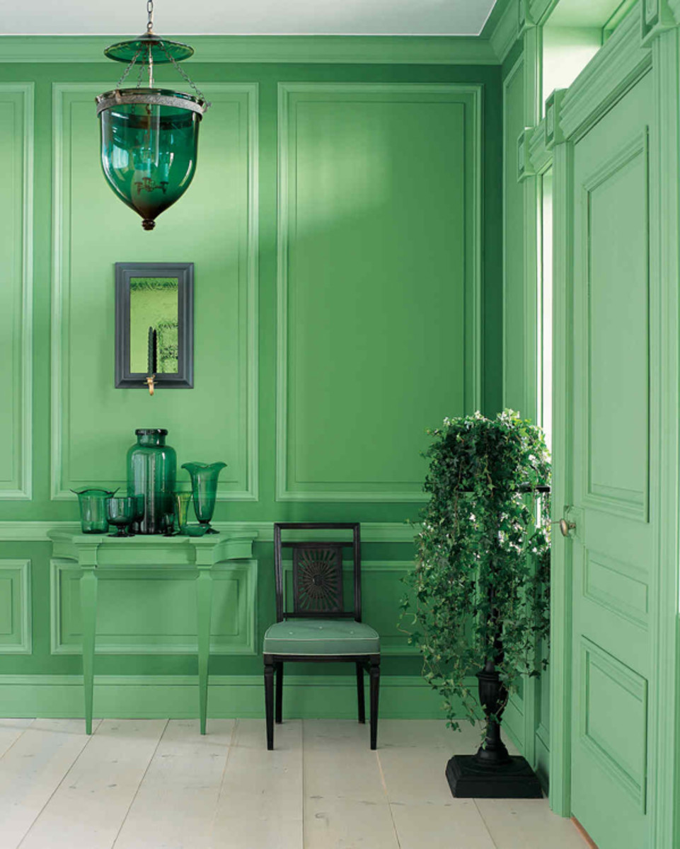 An entry saturated in green is verdant beauty.