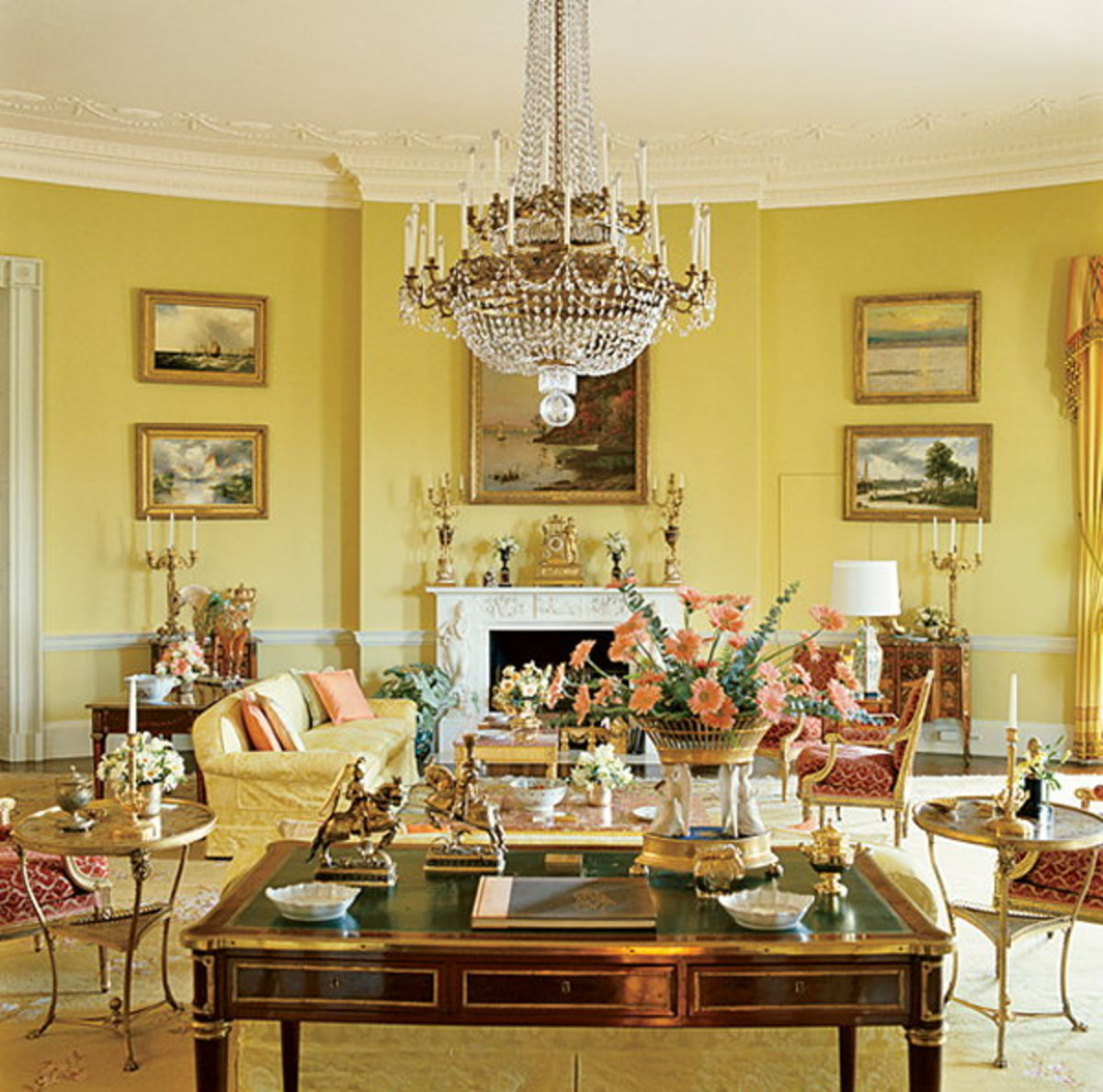 Yellow rooms keep things cheerful year-round.