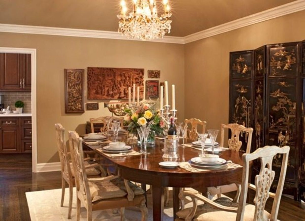 Using the same or a shade or two different on the ceiling gives the room a tailored look.