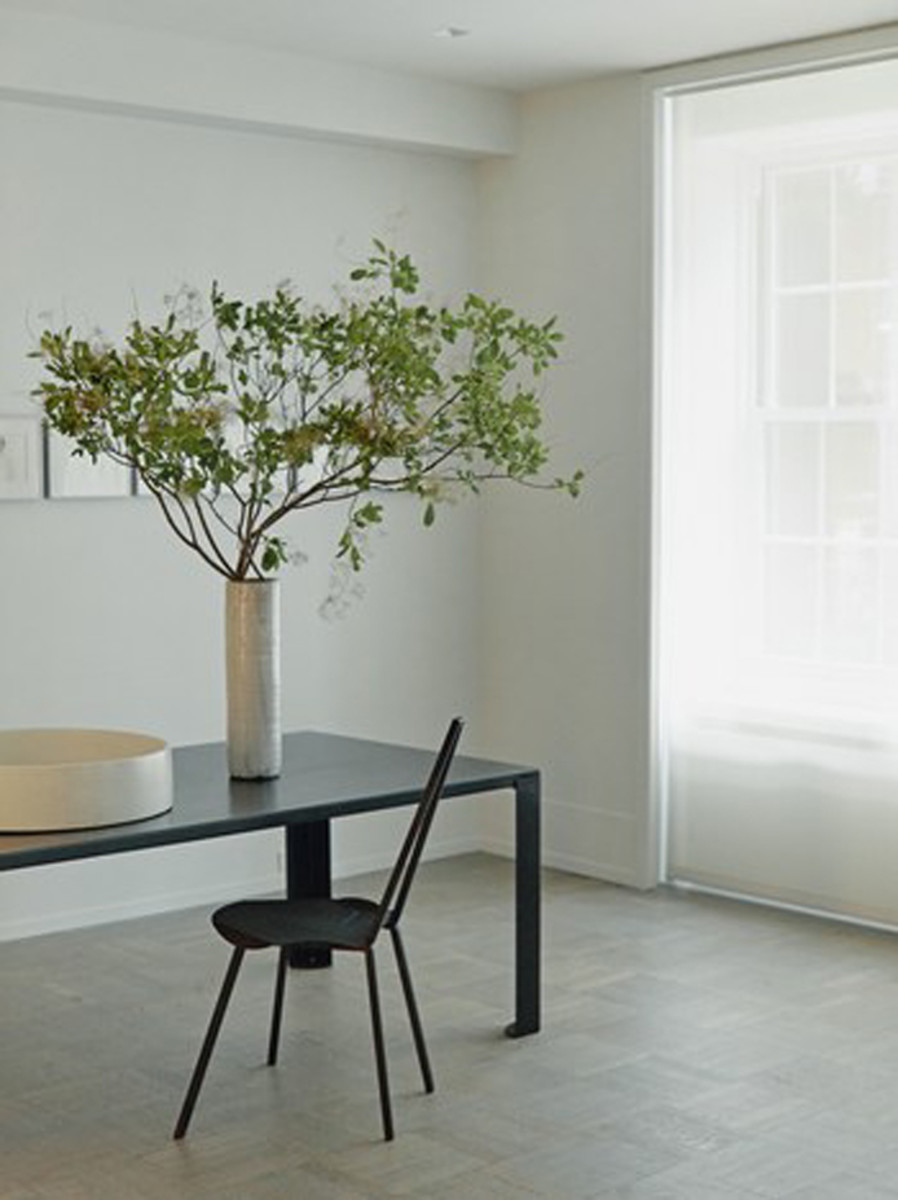 Light-diffusing roller shades make a room look light, clean and modern